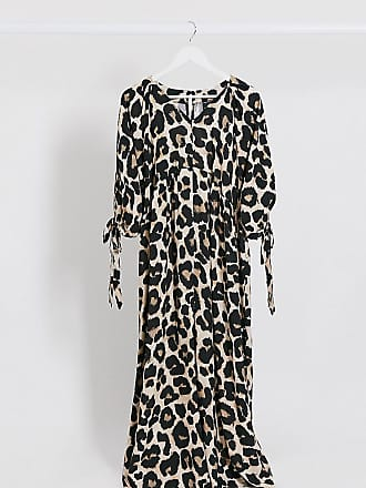 Asos Maternity ASOS DESIGN Maternity smock jumpsuit with tie sleeve detail in leopard print-Multi