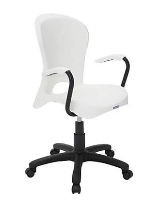 Tramontina Cadeira Plástica Jolie Branca Com Rodizio Em Nylon E Braco De Aluminio Preto Tramontina 92076/010