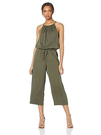 Daily Ritual Womens Tencel Halter Jumpsuit, Dark Olive, 4
