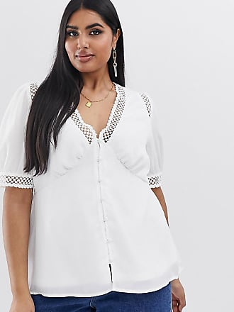 Fashion Union Plus short sleeved blouse with lace inserts - White