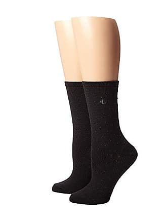 Ralph Lauren Supersoft Pindot Flatknit Solid Trouser 2 Pack (Black) Womens  Crew 4677cb8a3