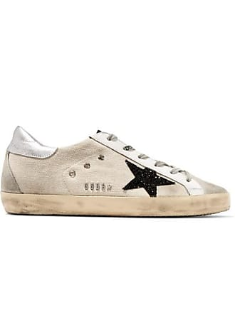 1d1fe4eb5146 Golden Goose Superstar Glittered Distressed Canvas, Leather And Suede  Sneakers - Beige
