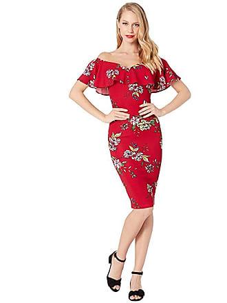 Unique Vintage Knit Draped Sophia Wiggle Dress (Burgundy Red Floral) Womens Dress