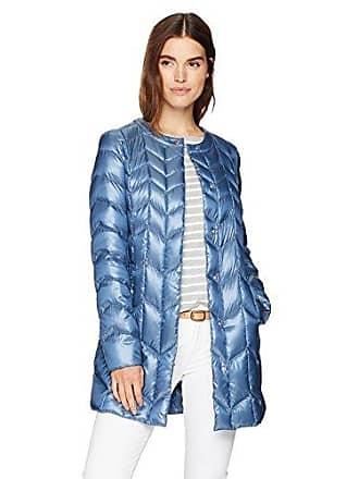 Via Spiga Womens Collarless Packable Down Jacket with Chevron Stitch Detail, Denim Blue, Small