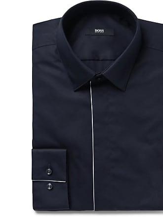 179f4efa4 HUGO BOSS Midnight-blue Ivan Slim-fit Piped Cotton-poplin Tuxedo Shirt -