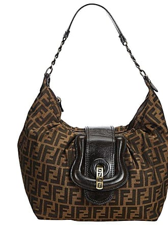 894d6b38b641 Fendi Brown Jacquard Fabric Zucca Canvas B Hobo Bag Italy W  Dust Bag