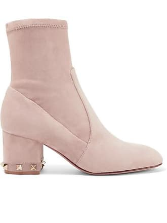 e4472b7e9802 Valentino Valentino Garavani The Rockstud Leather-trimmed Suede Ankle Boots  - Blush