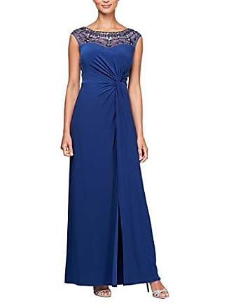Alex Evenings Womens Long Dress with Beaded Illusion Neckline, Royal, 8