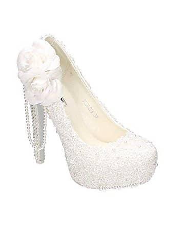 8b1d0a42f10d13 King Of Shoes Damen Brautschuhe Hochzeit Pumps Weiß Strass Nieten Stilettos  Elegant High Heels Plateau Abend