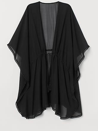 H&M Pompom-trimmed Kaftan - Black