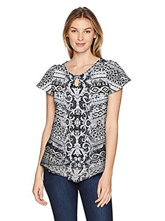 Oneworld Womens Short Sleeve Printed Top with Lace Back, Royal Tile/White, Medium