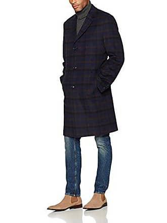 Tommy Hilfiger Mens Barnes Single Breasted Walker Coat, Navy Plaid, 42L