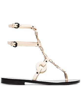 ÁLVARO GONZÁLEZ off white Andorra flat leather sandals - Neutrals