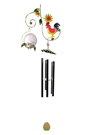 Great World Company Rooster Vine Wind Chime with Solar Ball - 3021004