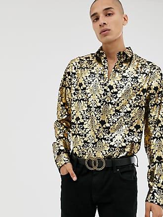 Twisted Tailor Camicia skinny in velluto con stampa barocca oro-Nero