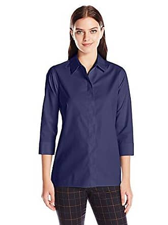Foxcroft Womens 3/4 Sleeve Gigi Tunic in Solid Stretch Non Iron, Navy 8