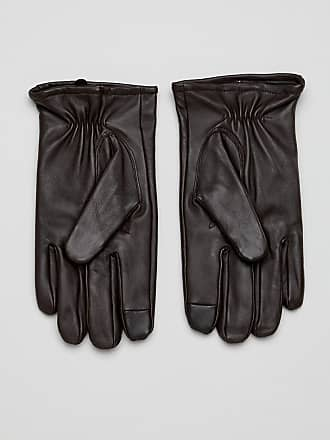 Asos leather touchscreen gloves in brown - Brown