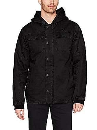 Hurley Mens Military Inspired Cotton Hooded Lined Jacket, Black, S