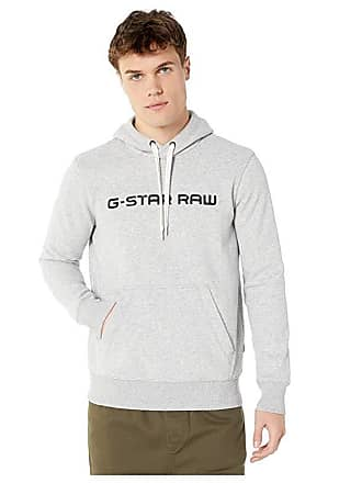 G-Star Loaq Hooded Core Long Sleeve Round Neck Sweatshirt (Grey Heather) Mens Clothing