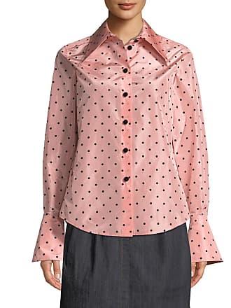 07e451bee133cc Marc Jacobs Long-Sleeve Flocked-Dot Button-Down Silk Blouse w  Cuff