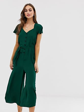 Asos button front frill sleeve jumpsuit with cut out back - Green