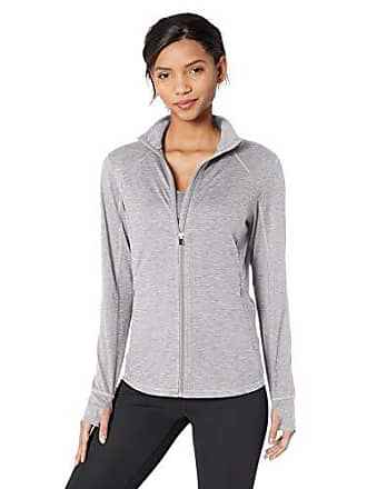 Amazon Essentials Womens Brushed Tech Stretch Full-Zip Jacket, Grey Space dye, Large