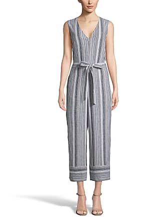 5twelve Striped Front-Zip Sleeveless Tie-Waist Cropped Jumpsuit