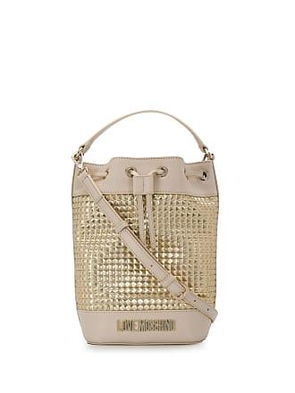 Love Moschino Bolsa saco metalizada com logo - Neutro