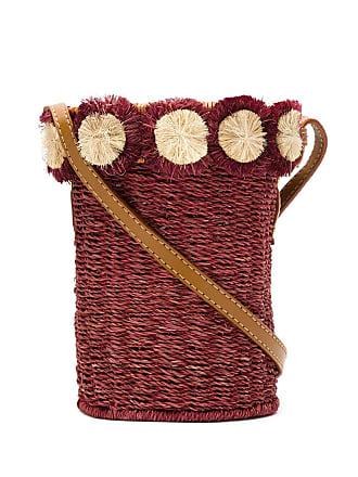 Serpui Bolsa tiracolo de palha com aplicações - Vermelho