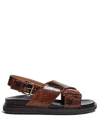 Marni Fussbett Python Effect Slingback Sandals - Womens - Black Brown