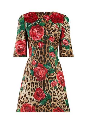 96de03677e Dolce   Gabbana Rose And Leopard Print Cloqué Dress - Womens - Multi