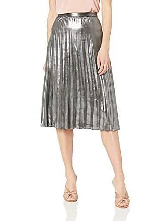 Nicole Miller Womens Knee Length Flowy Midi Skirt, Silver Pleated 14