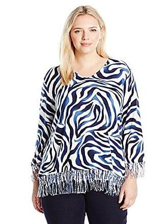 Alfred Dunner Womens Zebra Print Sweater, Navy S