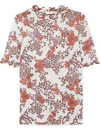See By Chloé Ruffled Floral-print Stretch-gauze Top - White