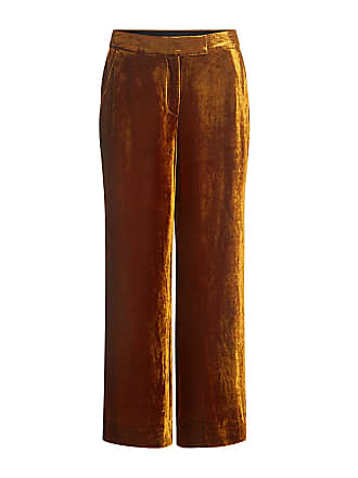 A.L.C. Robbie Wide-leg Velvet Cropped Pants Gold