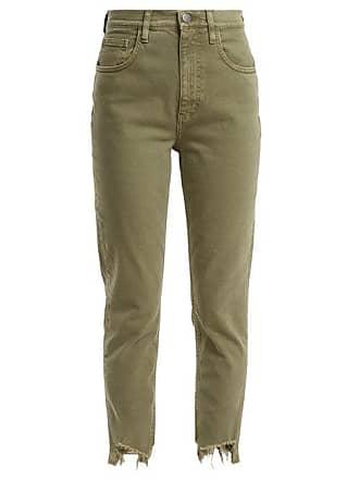 Mih Jeans Mimi Raw Hem High Rise Straight Leg Jeans - Womens - Green