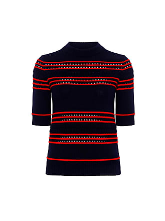 Suno Pointelle Stripe Sweater Navy With Red