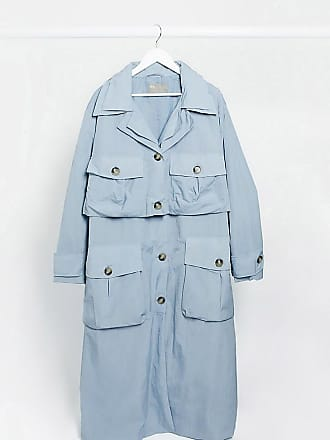 Asos Curve ASOS DESIGN Curve layered utility taffeta trench coat in baby blue