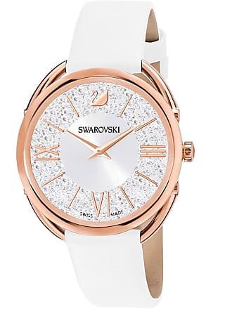 3efb646a77 Swarovski Orologio Crystalline Glam, Cinturino in pelle, bianco, tono oro  rosa