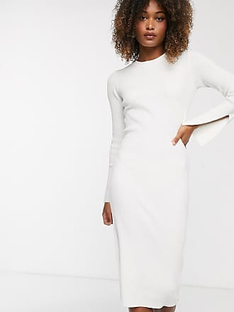 Y.A.S ribbed midi dress with side zip and sleeve split detail in white