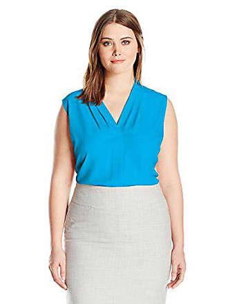 Calvin Klein Womens Blouse W/Inverted Pleat, Adriatic Blue, S