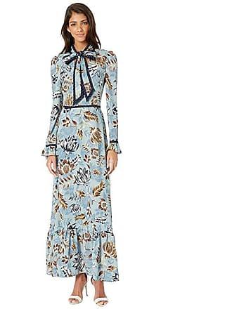 dfe2d9de1a Bcbgmaxazria Floral Ruffled Maxi Dress (Ashley Blue Large Liberty) Womens  Clothing