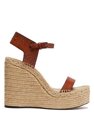 bab1491fc3b5 Saint Laurent Studded Espadrille Wedge Sandals - Womens - Tan