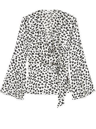 bf72fb50841db Ganni Ruffled Printed Silk-satin Wrap Top - White