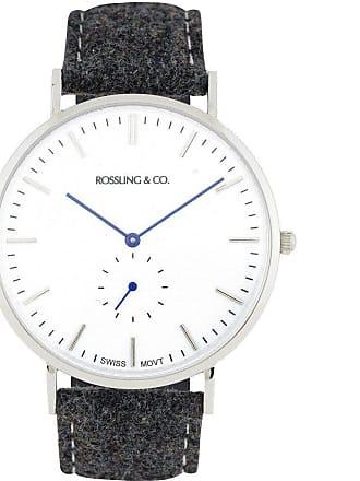 Rossling & Co. Classic 40mm Glencoe Watch   Silver/White/Blue