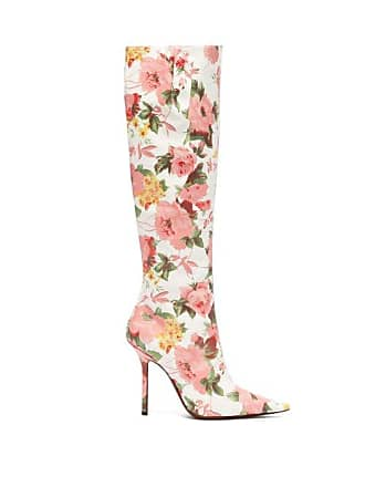 db02194c3708 VETEMENTS Floral Print Leather Knee High Boots - Womens - Pink White