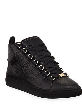 Balenciaga High-Top Calf Leather Sneakers, Black