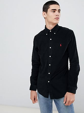 Polo Ralph Lauren slim fit fine cord shirt player logo button down in black 0837d3c45bb18