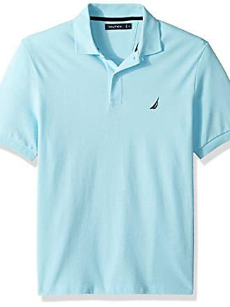 Nautica Mens Short Sleeve Solid Cotton Pique Polo Shirt, Bright Aqua, Small