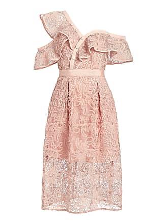 Self Portrait Ruffled One Shoulder Floral Mesh Lace Midi Dress Pink